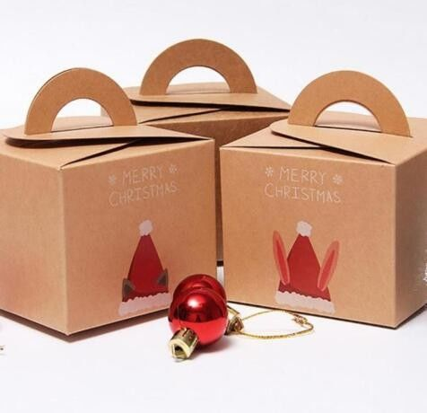 Recycling Brown Kraft Christmas Paper Box Gift Packaging Box With Handle